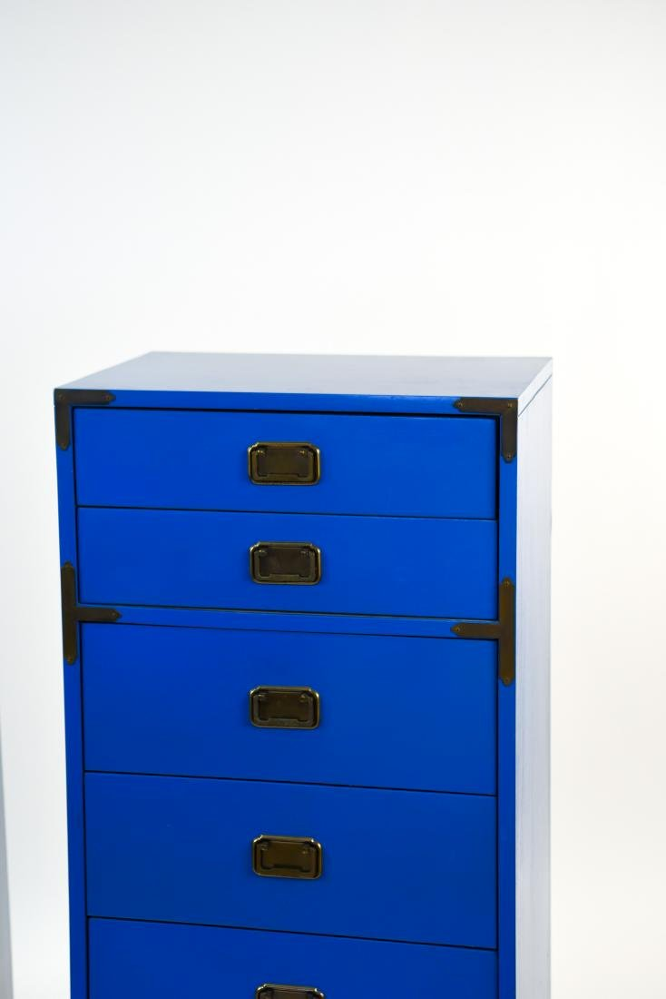 PAIR CAMPAIGN STYLE BLUE TALL CHESTS OF DRAWERS - 3
