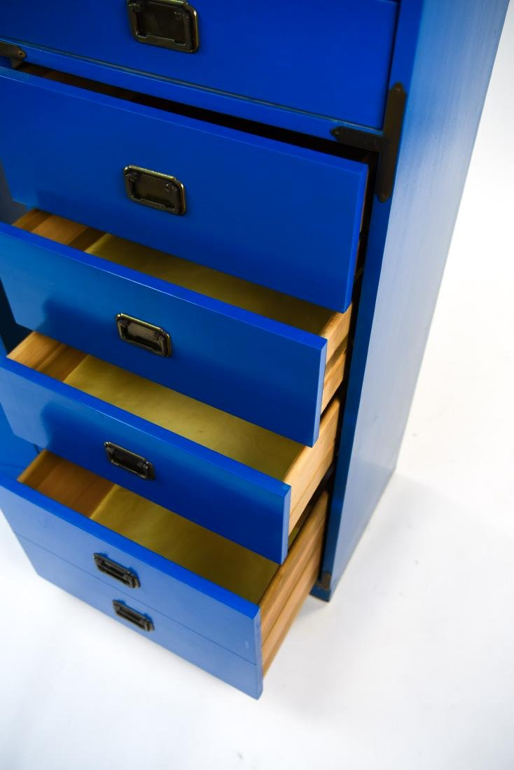PAIR CAMPAIGN STYLE BLUE TALL CHESTS OF DRAWERS - 4
