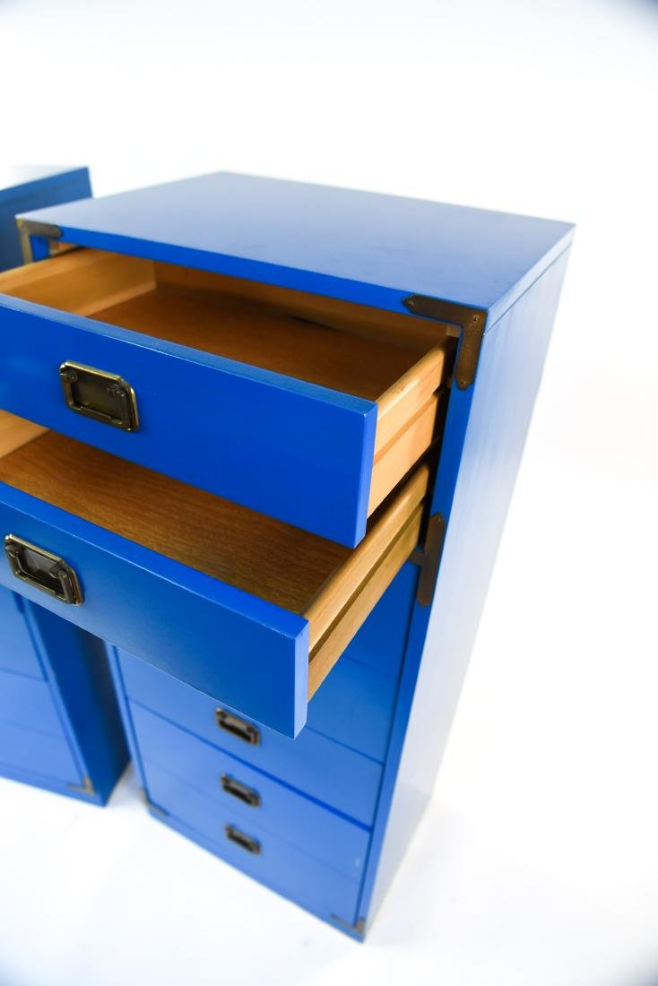 PAIR CAMPAIGN STYLE BLUE TALL CHESTS OF DRAWERS - 5