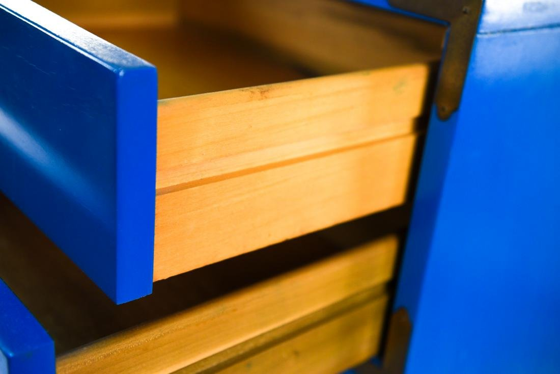 PAIR CAMPAIGN STYLE BLUE TALL CHESTS OF DRAWERS - 6
