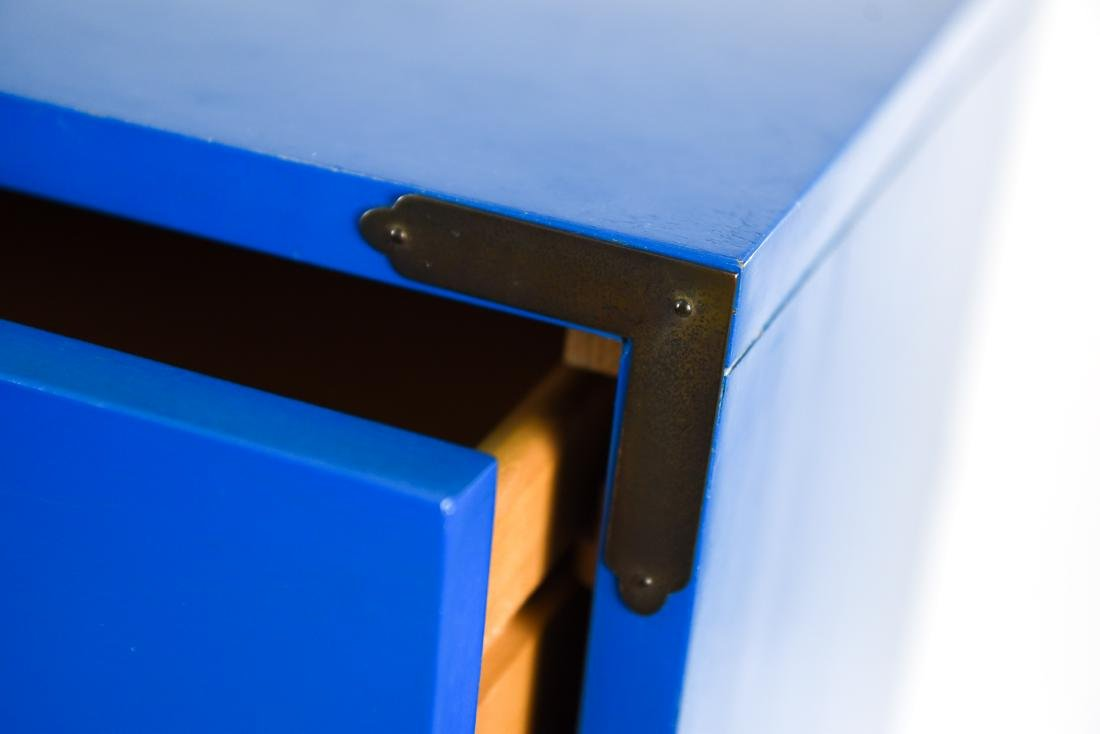 PAIR CAMPAIGN STYLE BLUE TALL CHESTS OF DRAWERS - 7