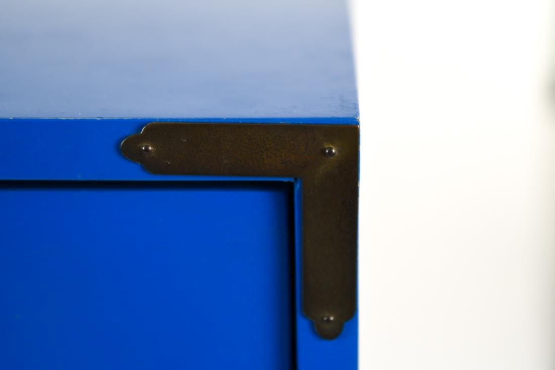 PAIR CAMPAIGN STYLE BLUE TALL CHESTS OF DRAWERS - 9