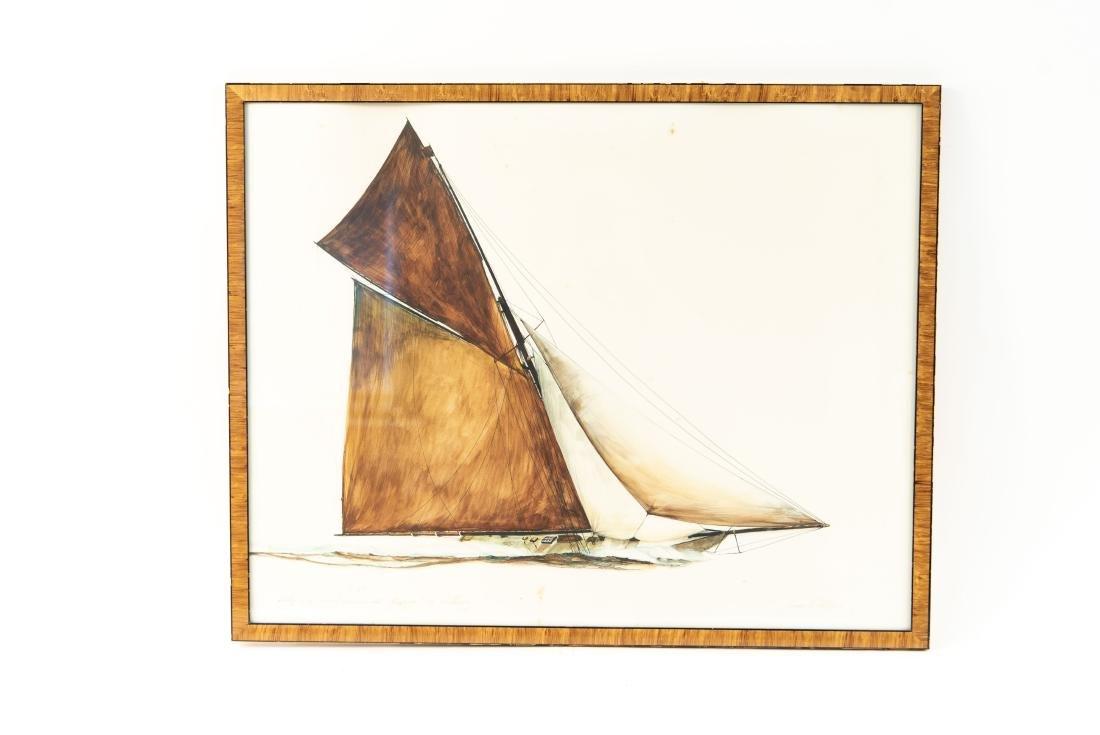 PEN INK WATERCOLOR OF SHIP