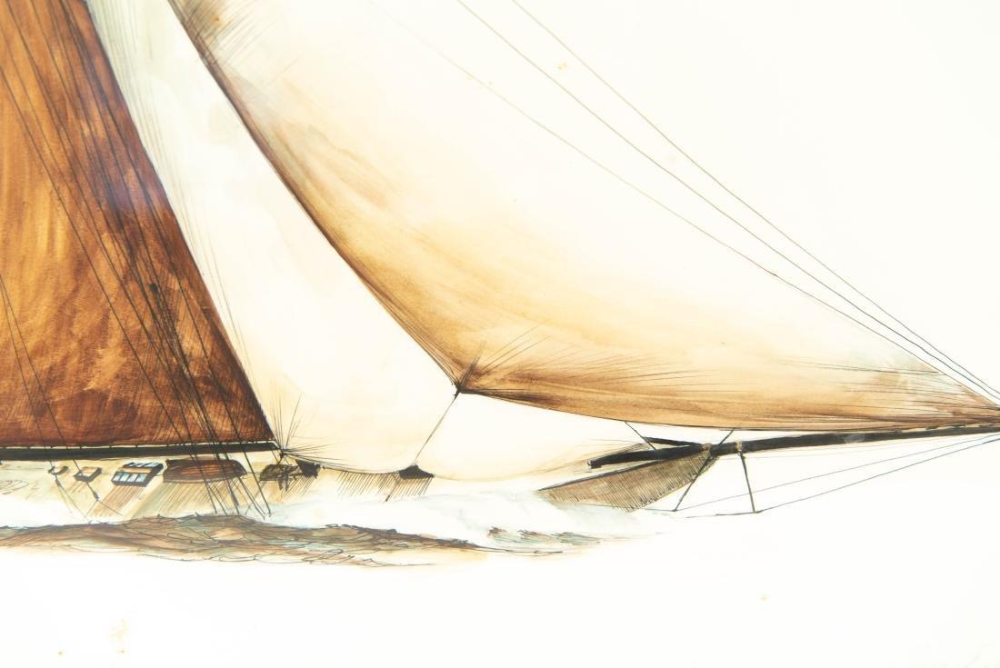 PEN INK WATERCOLOR OF SHIP - 5