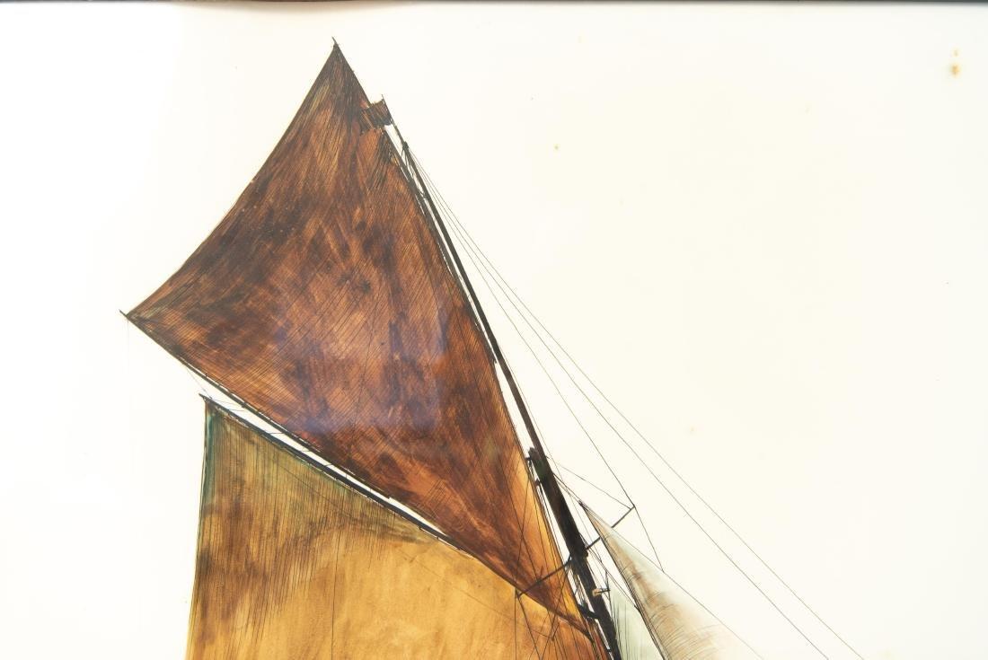 PEN INK WATERCOLOR OF SHIP - 7