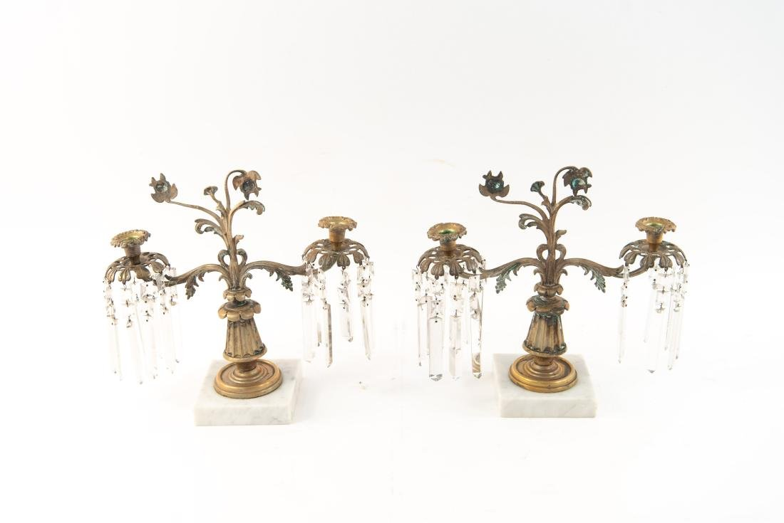 PAIR OF BRASS AND DROP CRYSTAL CANDELABRAS - 10