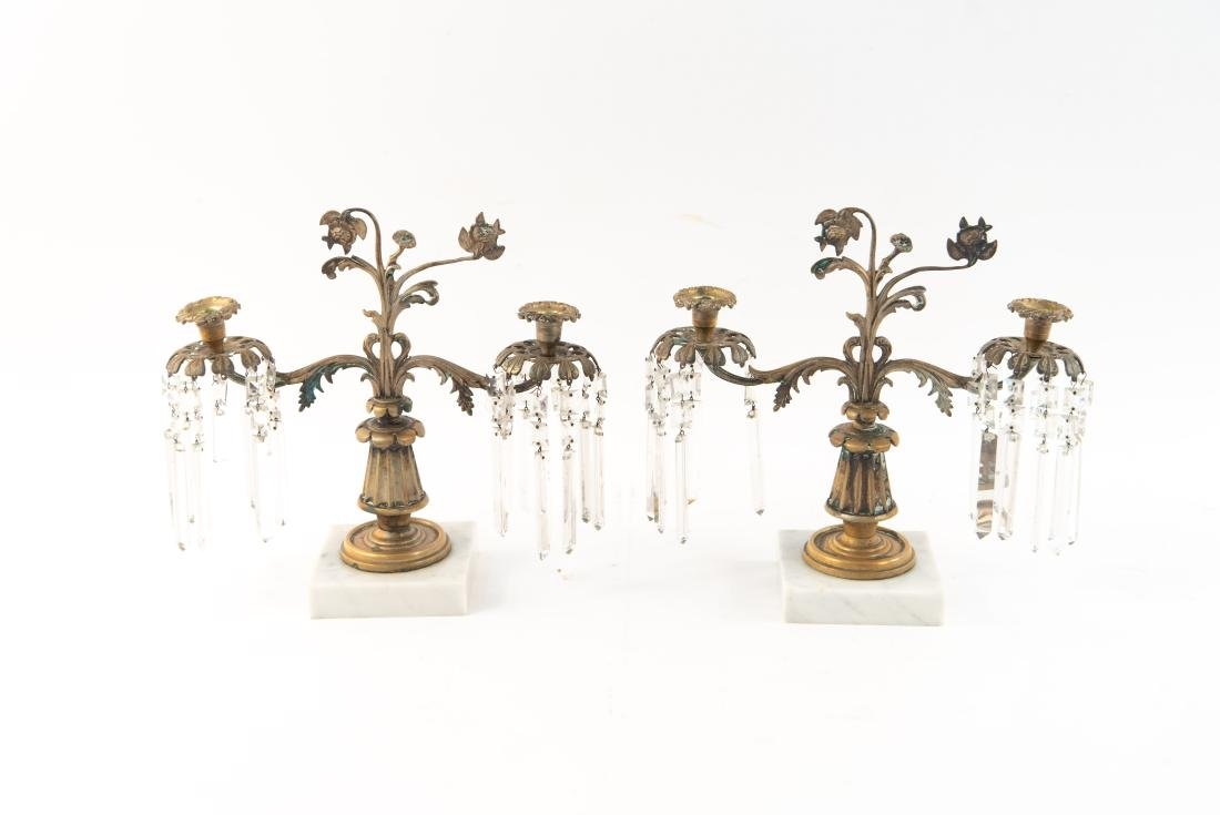 PAIR OF BRASS AND DROP CRYSTAL CANDELABRAS