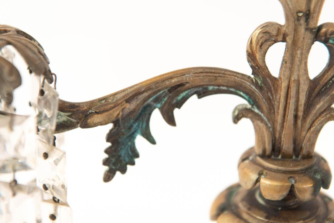 PAIR OF BRASS AND DROP CRYSTAL CANDELABRAS - 8