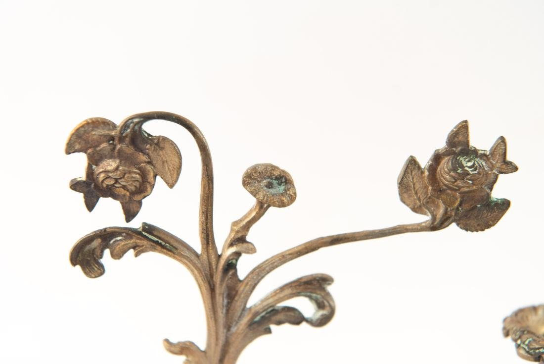 PAIR OF BRASS AND DROP CRYSTAL CANDELABRAS - 9