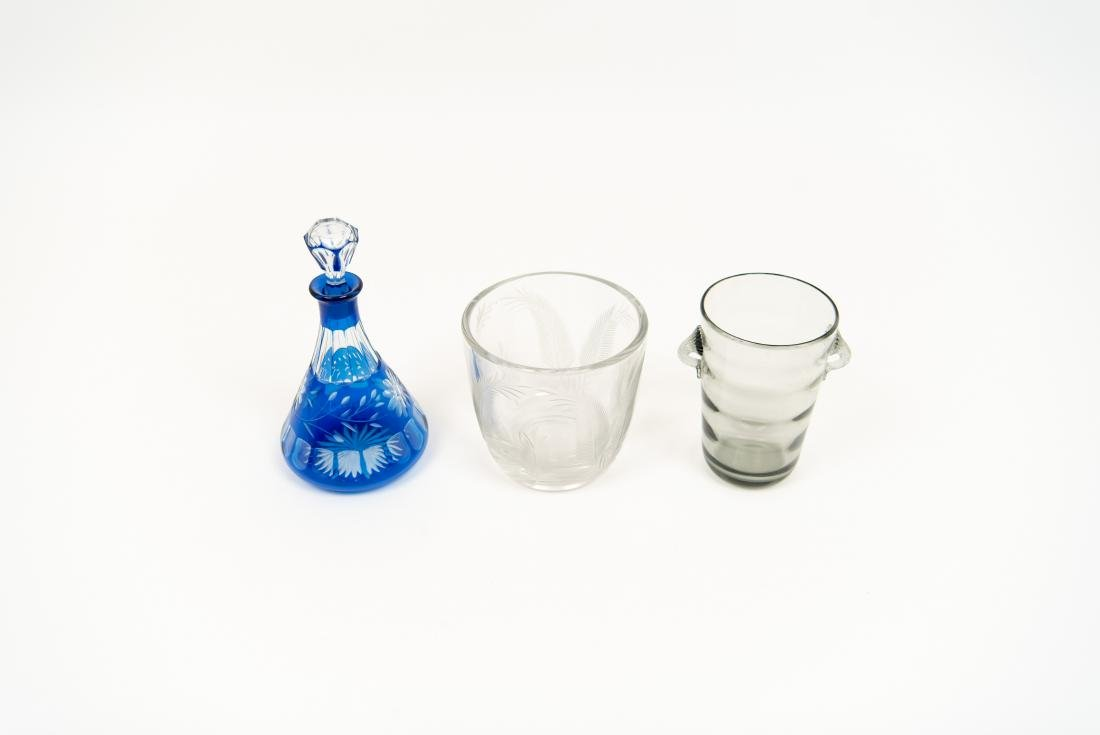 GLASS GROUPING INCL DECANTER ICE BUCKET VASE - 2