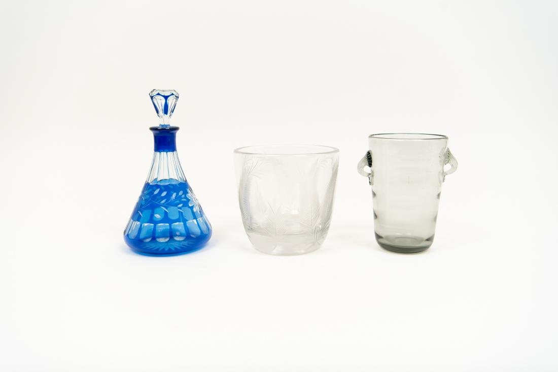 GLASS GROUPING INCL DECANTER ICE BUCKET VASE - 3