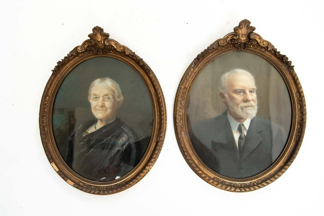 PAIR OF LATE 19TH C. PASTEL PORTRAITS