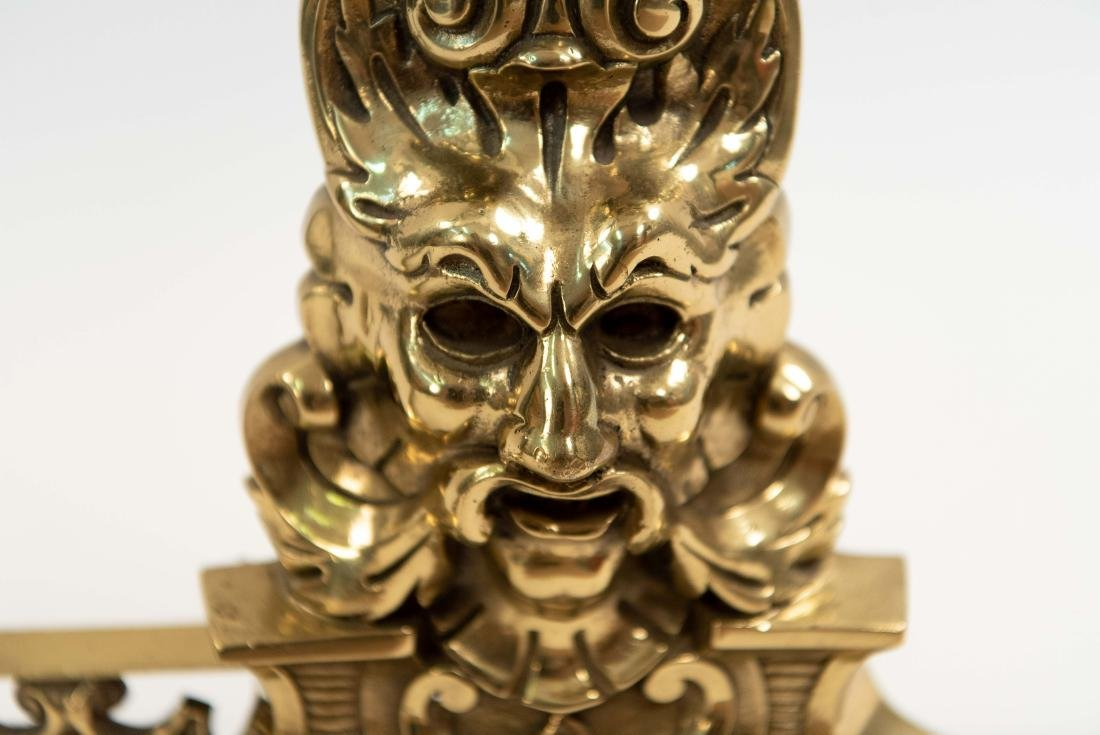 ORNATE BRASS FIRE FENDER W/ FACES - 6