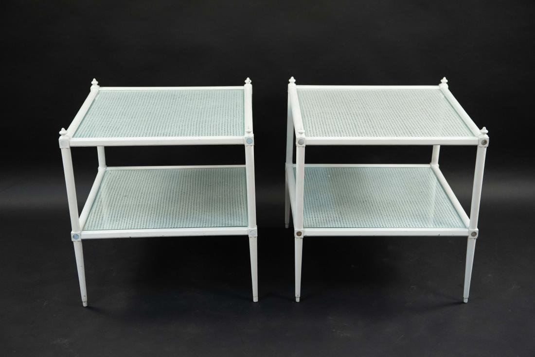 WHITE PAINTED CANE AND GLASS END TABLES - 10