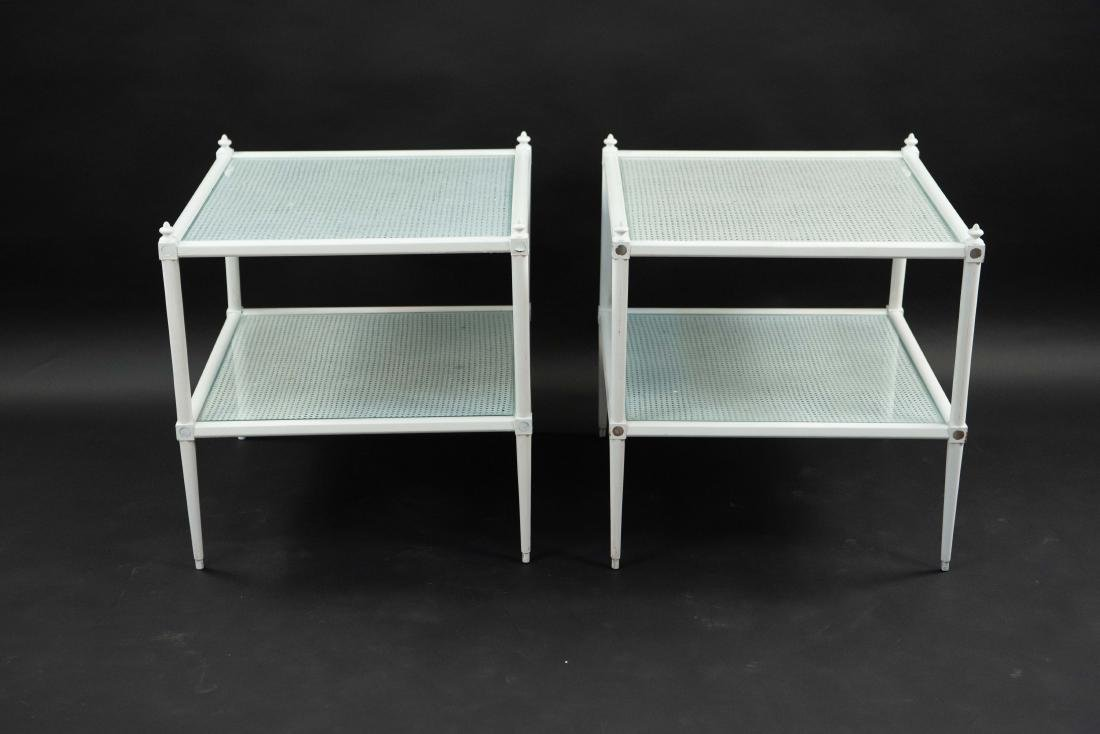 WHITE PAINTED CANE AND GLASS END TABLES