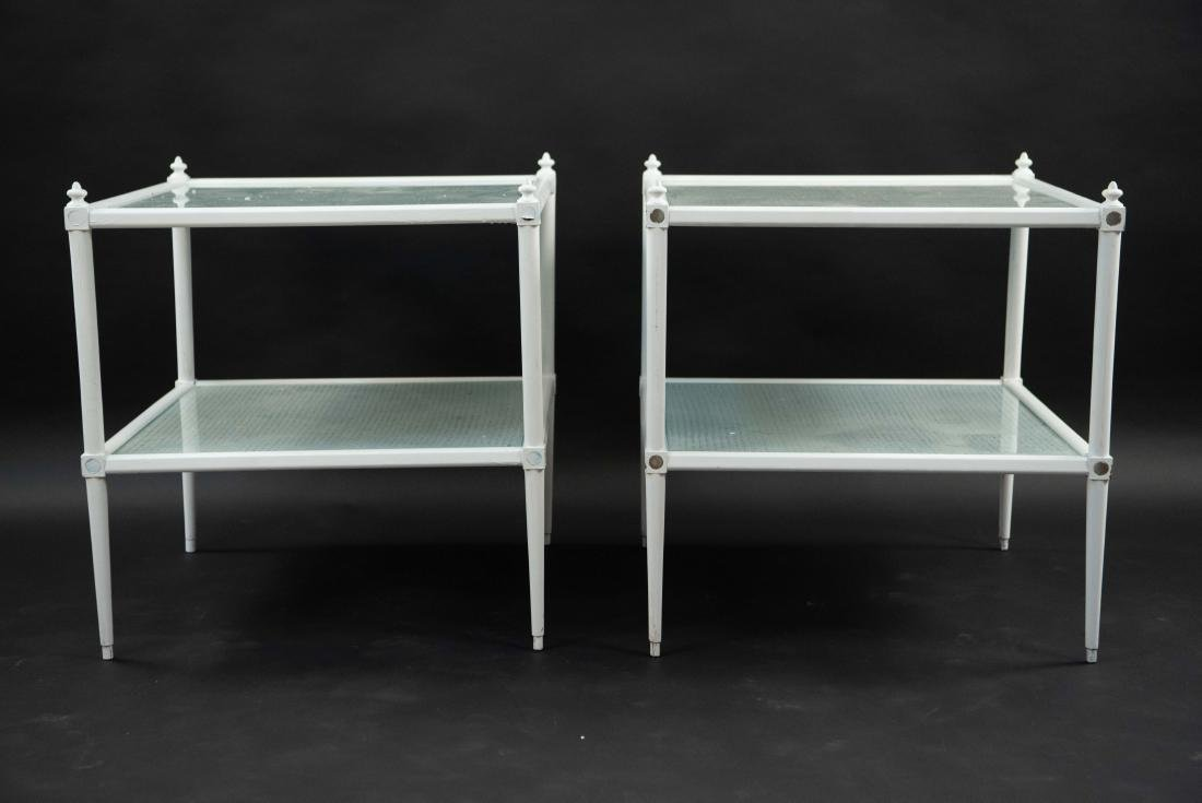 WHITE PAINTED CANE AND GLASS END TABLES - 2