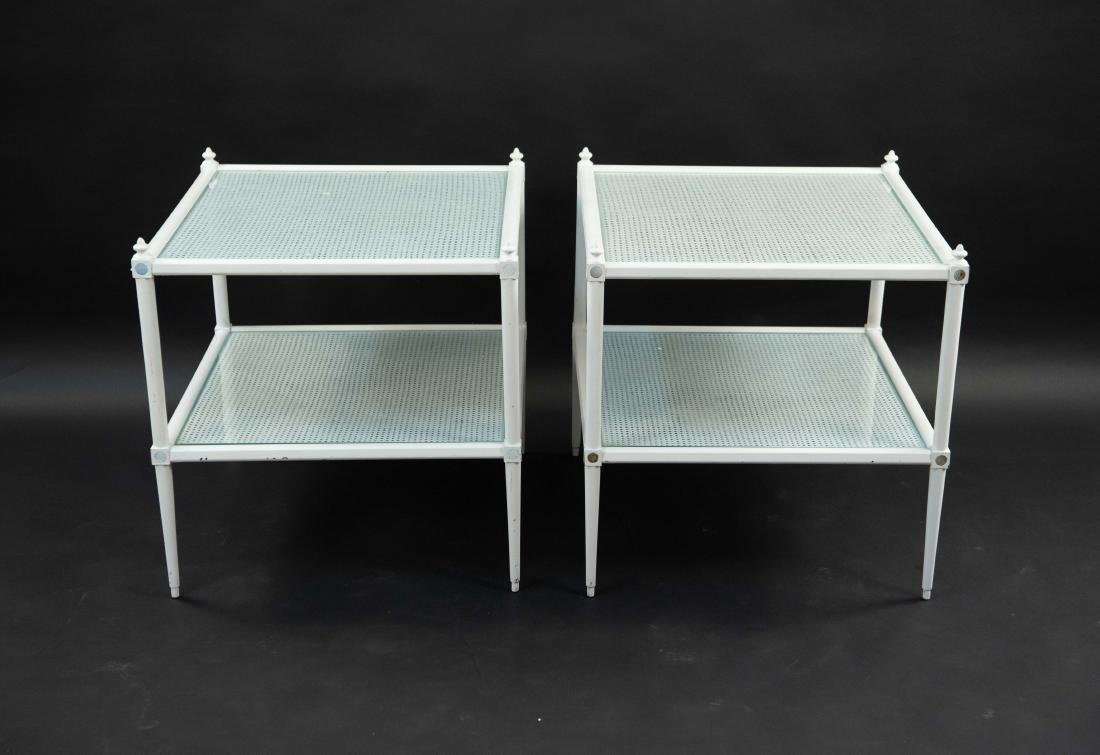 WHITE PAINTED CANE AND GLASS END TABLES - 8