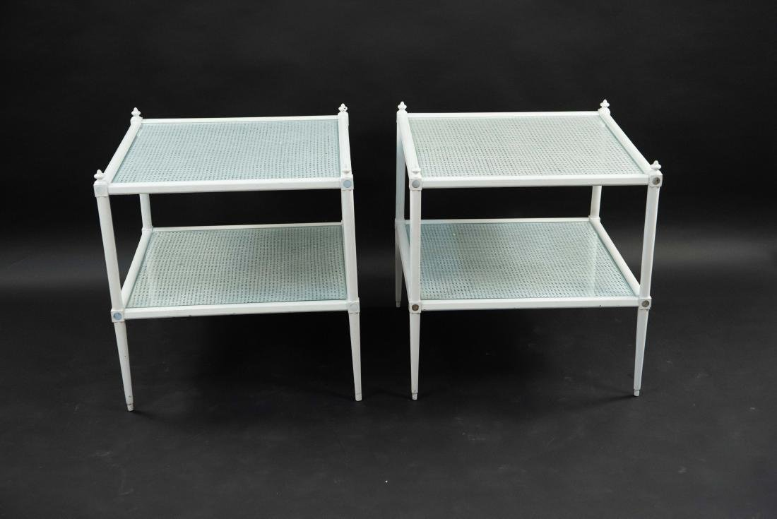 WHITE PAINTED CANE AND GLASS END TABLES - 9