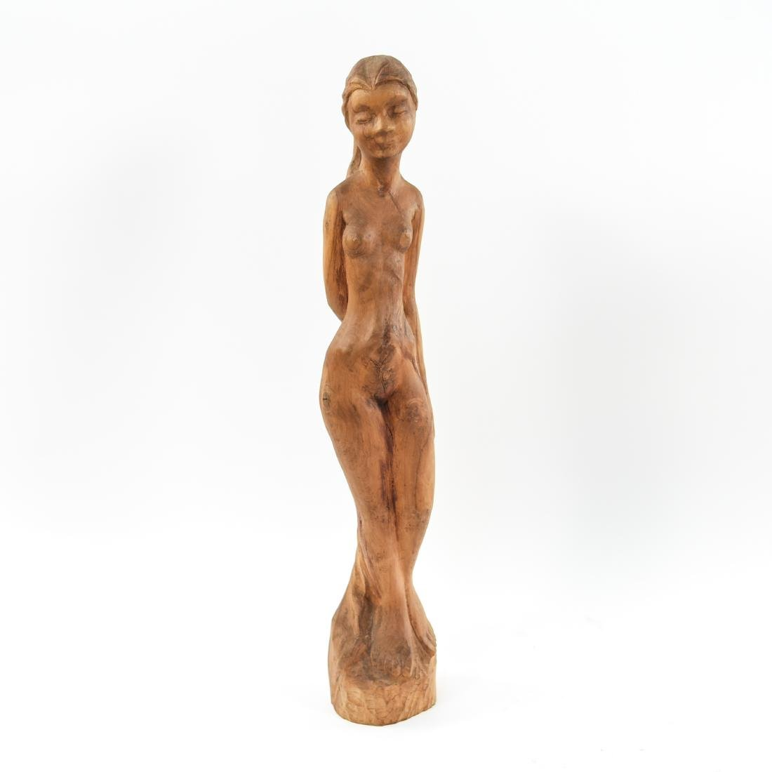 CARVED WOOD NUDE SCULPTURE