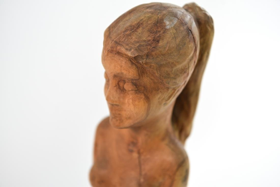 CARVED WOOD NUDE SCULPTURE - 3