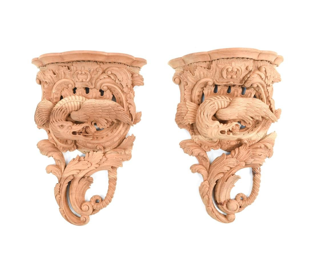 PAIR OF CARVED WALL MOUNTED SHELVES