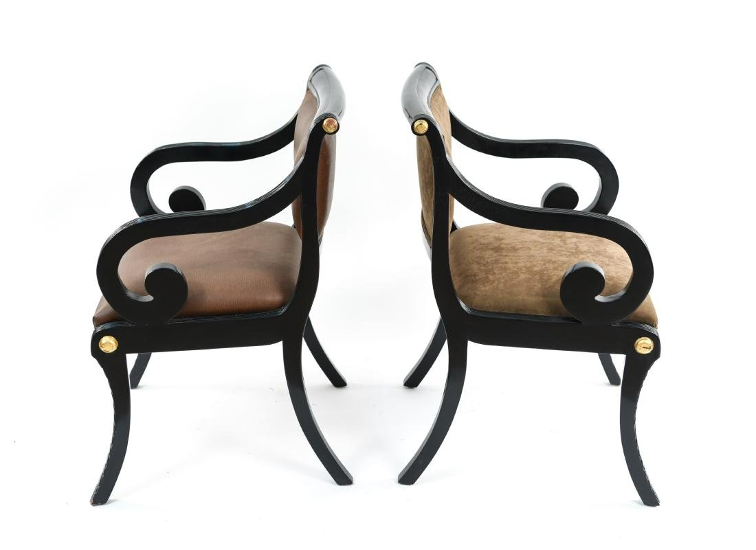 PAIR OF REGENCY STYLE SOLID MAHOGANY CHAIRS - 10