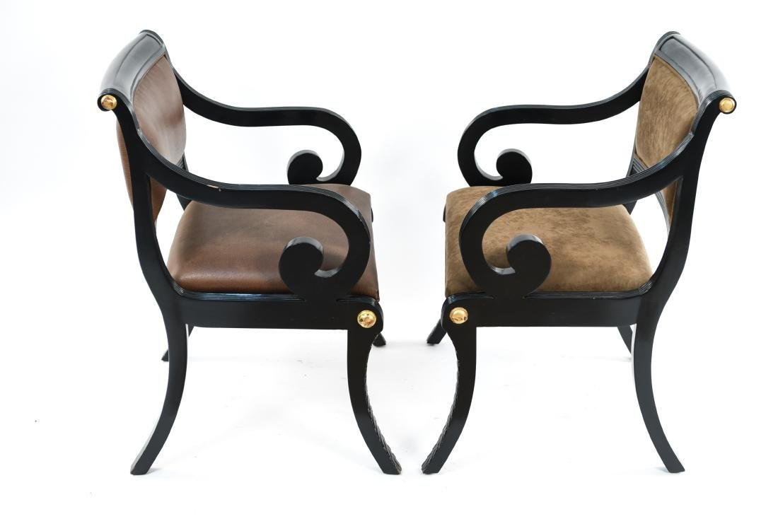 PAIR OF REGENCY STYLE SOLID MAHOGANY CHAIRS - 17