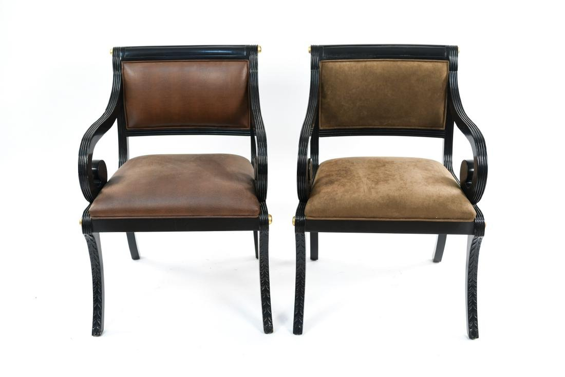 PAIR OF REGENCY STYLE SOLID MAHOGANY CHAIRS