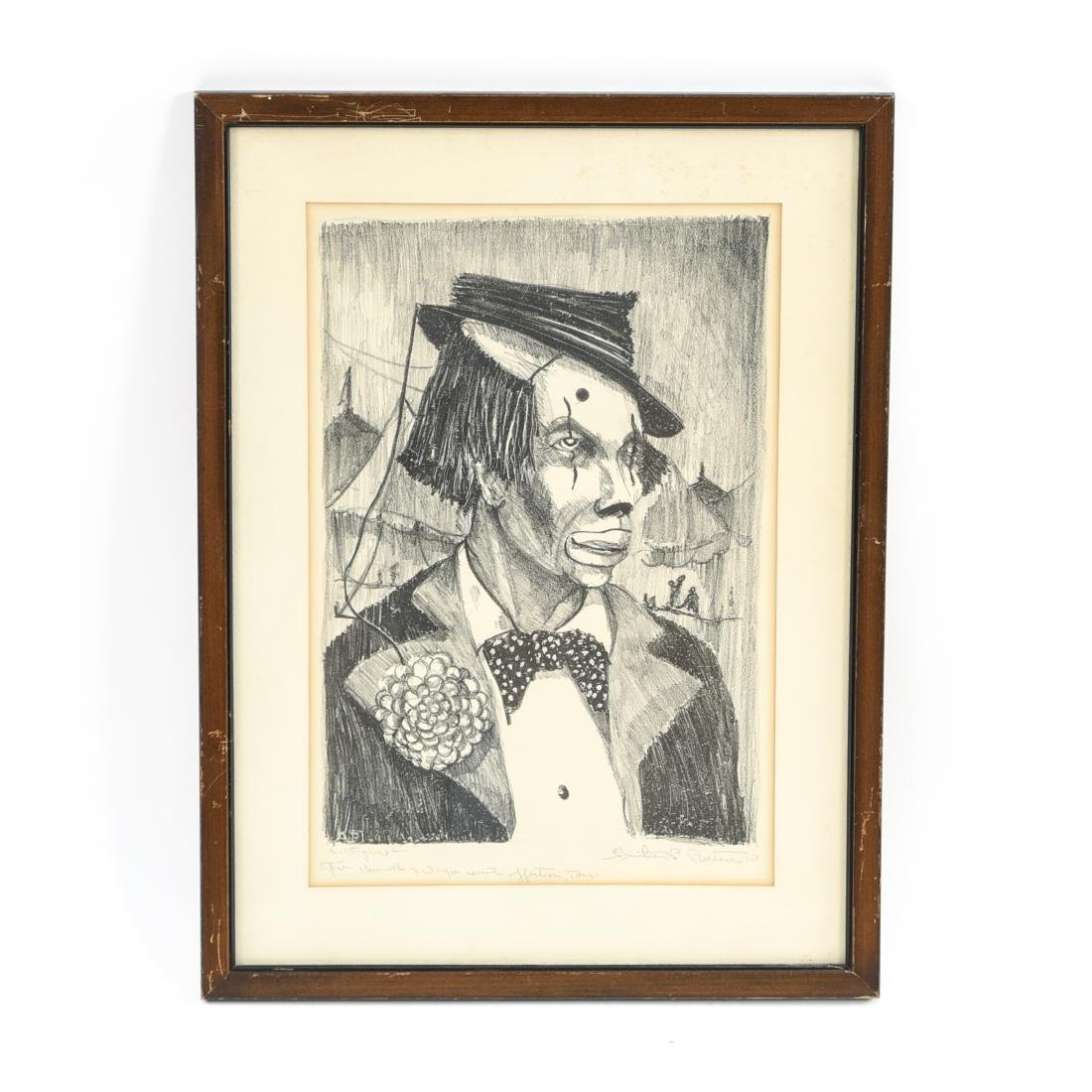 ANTHONY PARTELL CLOWN LITHOGRAPH