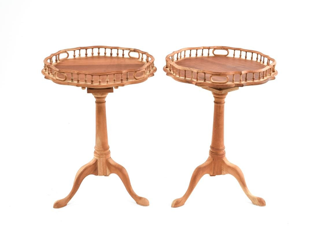 PAIR OF THREE LEG TABLES WITH GALLERY