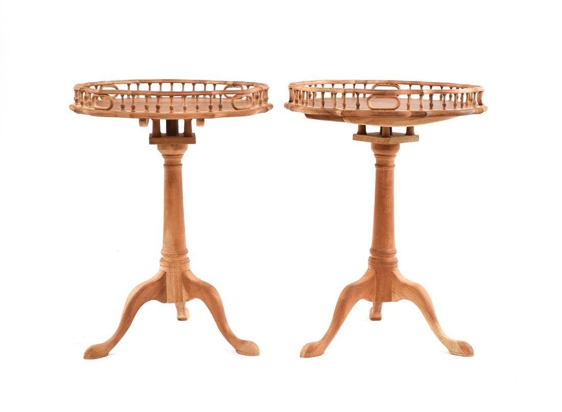 PAIR OF THREE LEG TABLES WITH GALLERY - 2
