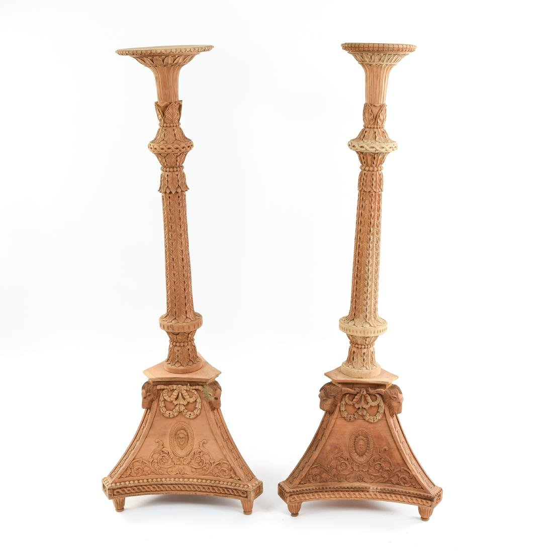 PAIR OF CARVED PEDESTAL STANDS