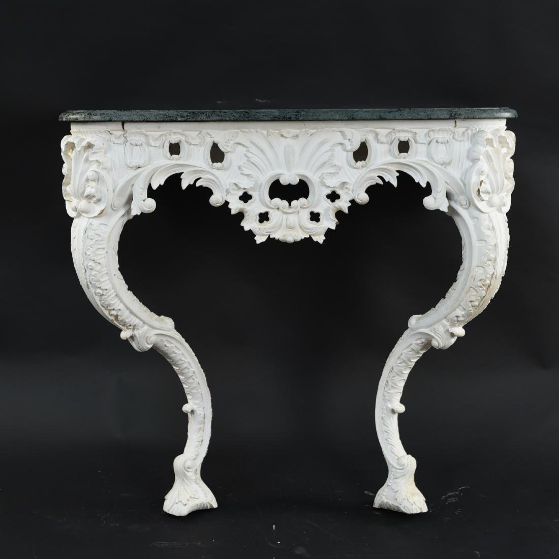 ITALIAN CARVED MARBLE TOP CONSOLE