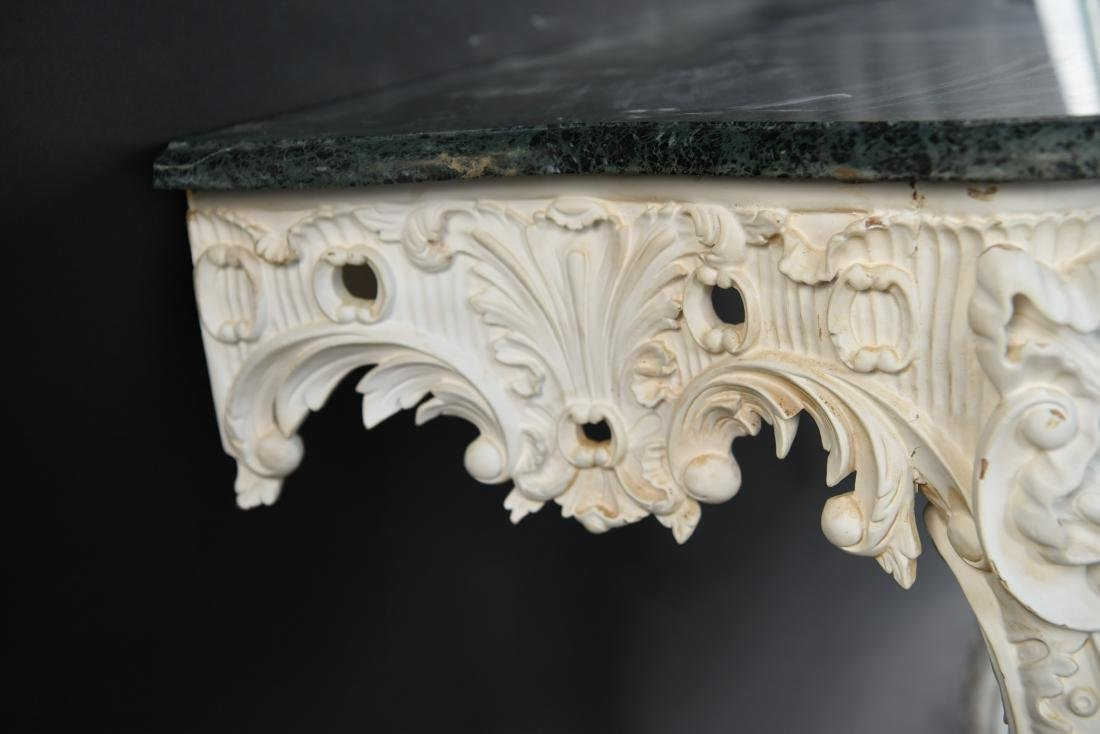 ITALIAN CARVED MARBLE TOP CONSOLE - 8