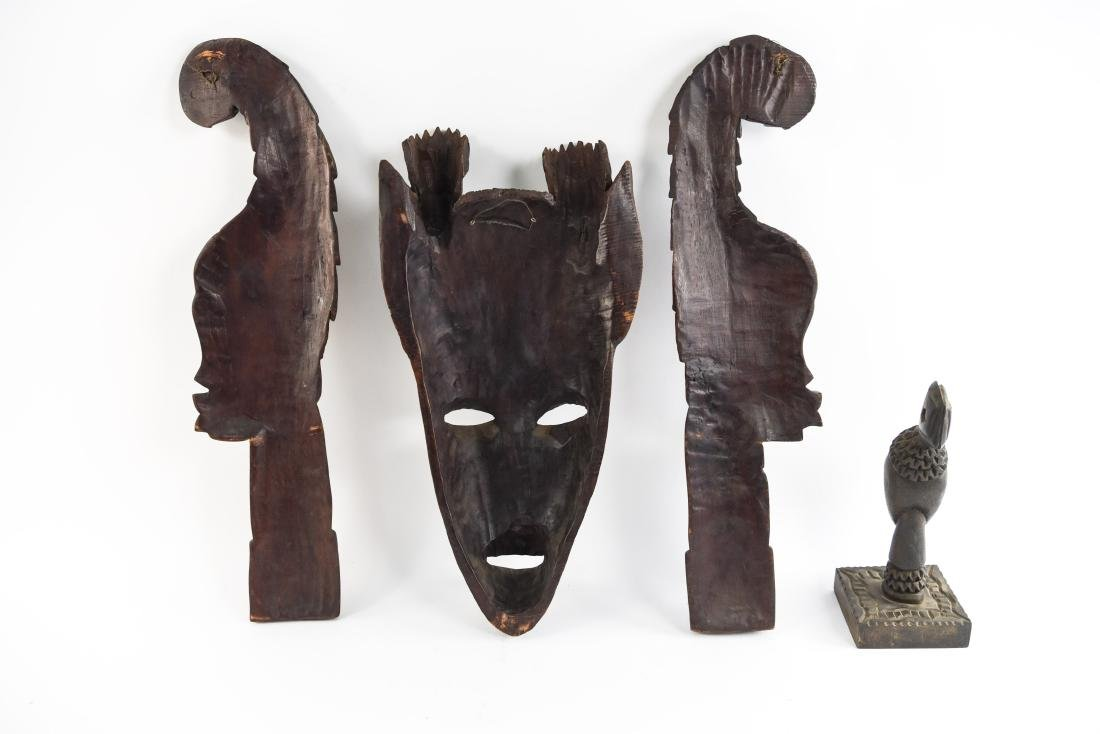 GROUPING OF HAITIAN CARVED WOODEN MASKS - 13