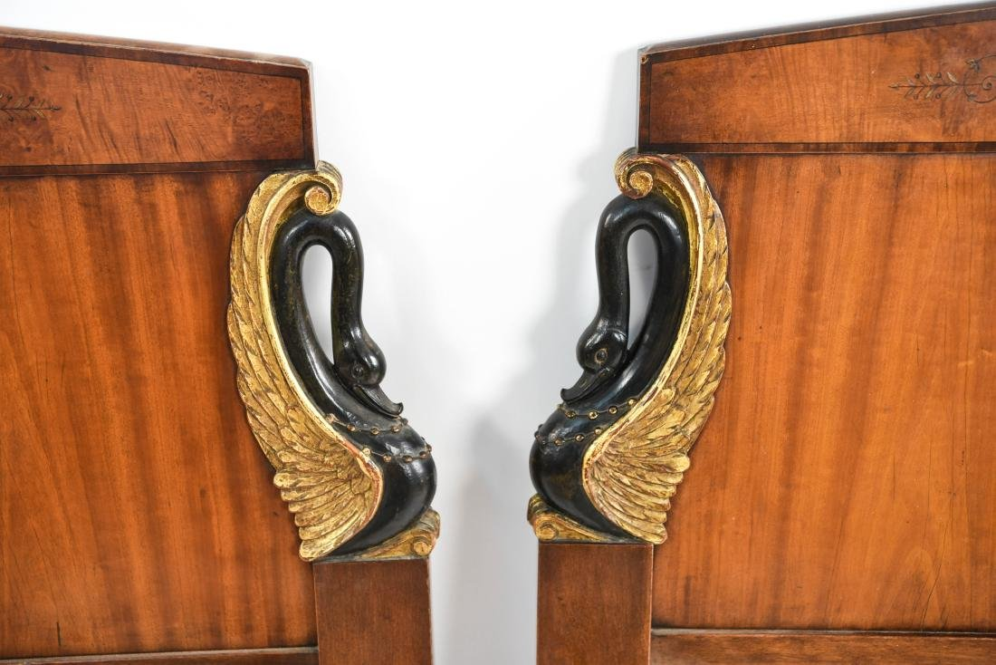 PAIR OF ANTIQUE CARVED HEADBOARDS - 4
