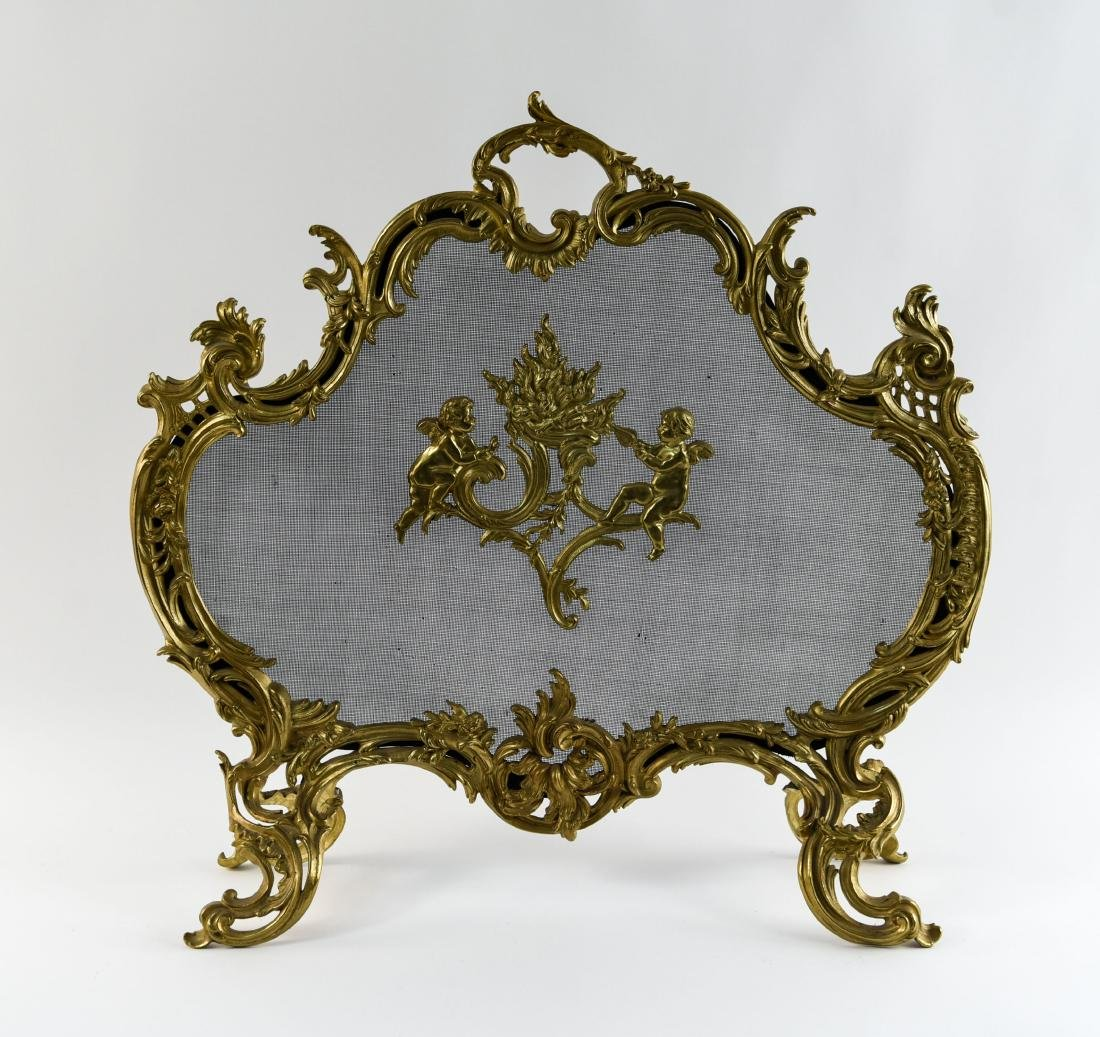 EARLY 19TH C. ORNATE FRENCH BRASS FIREPLACE SCREEN
