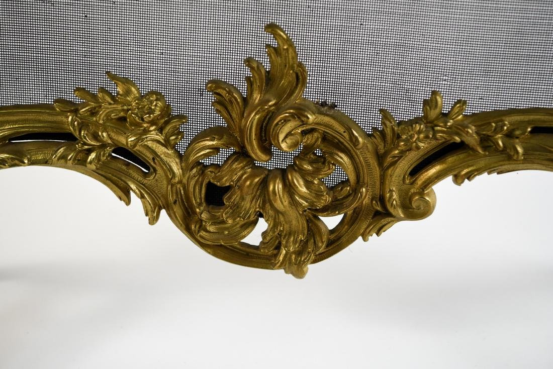 EARLY 19TH C. ORNATE FRENCH BRASS FIREPLACE SCREEN - 3