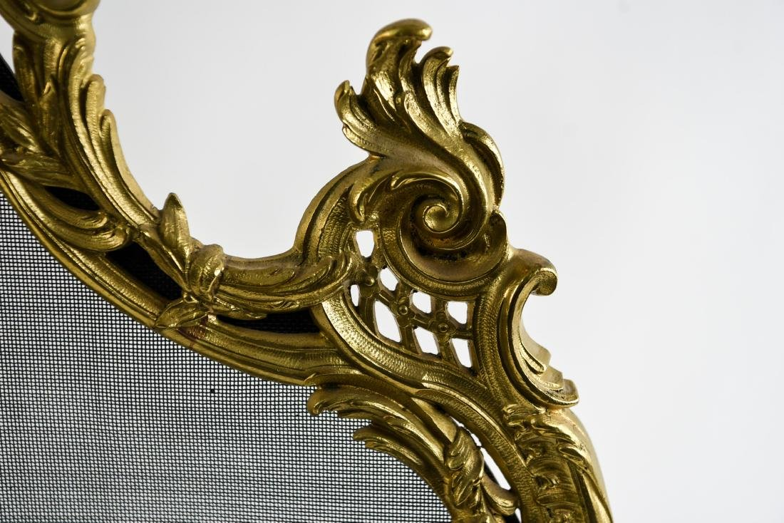EARLY 19TH C. ORNATE FRENCH BRASS FIREPLACE SCREEN - 7