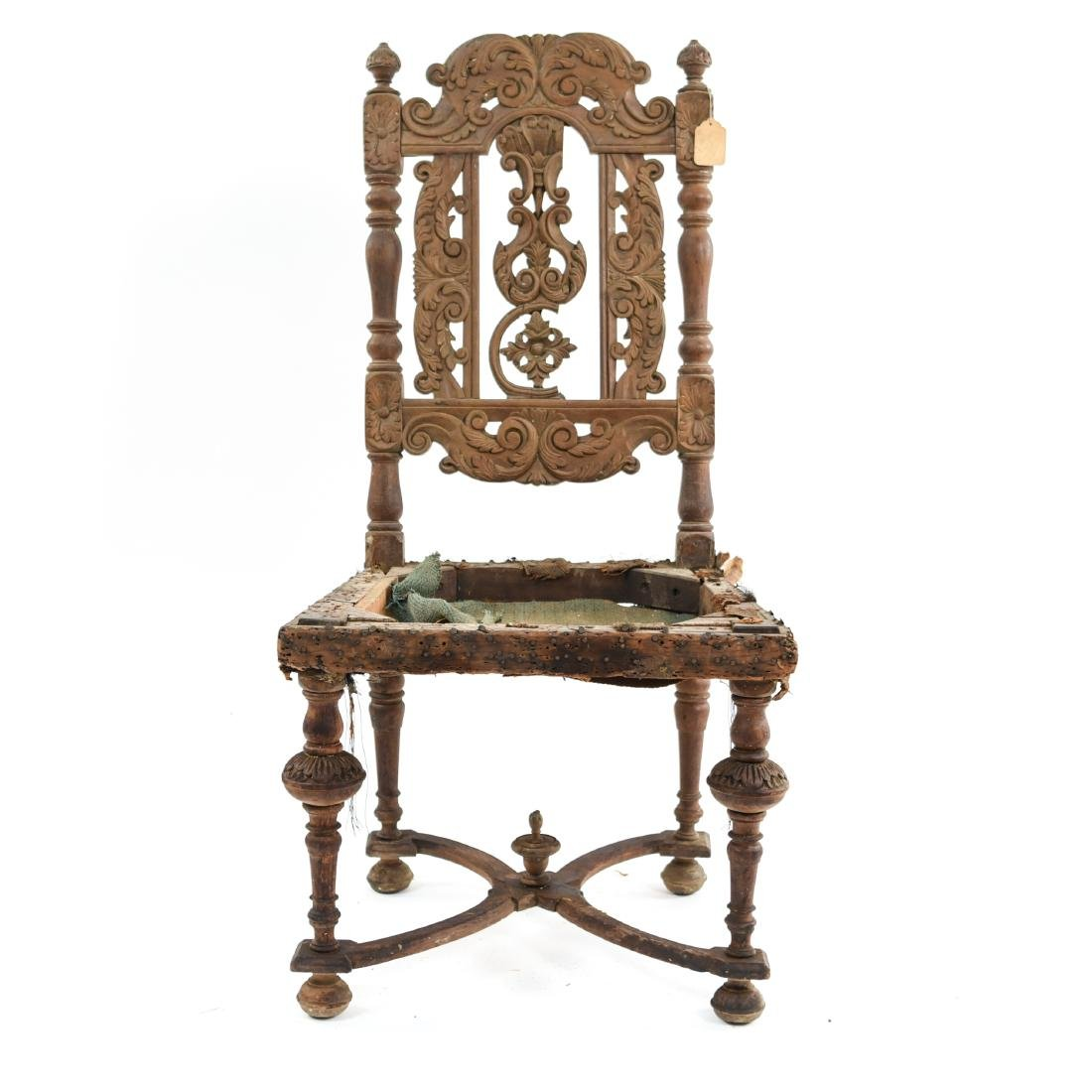 ANTIQUE CARVED SIDE CHAIR - 2
