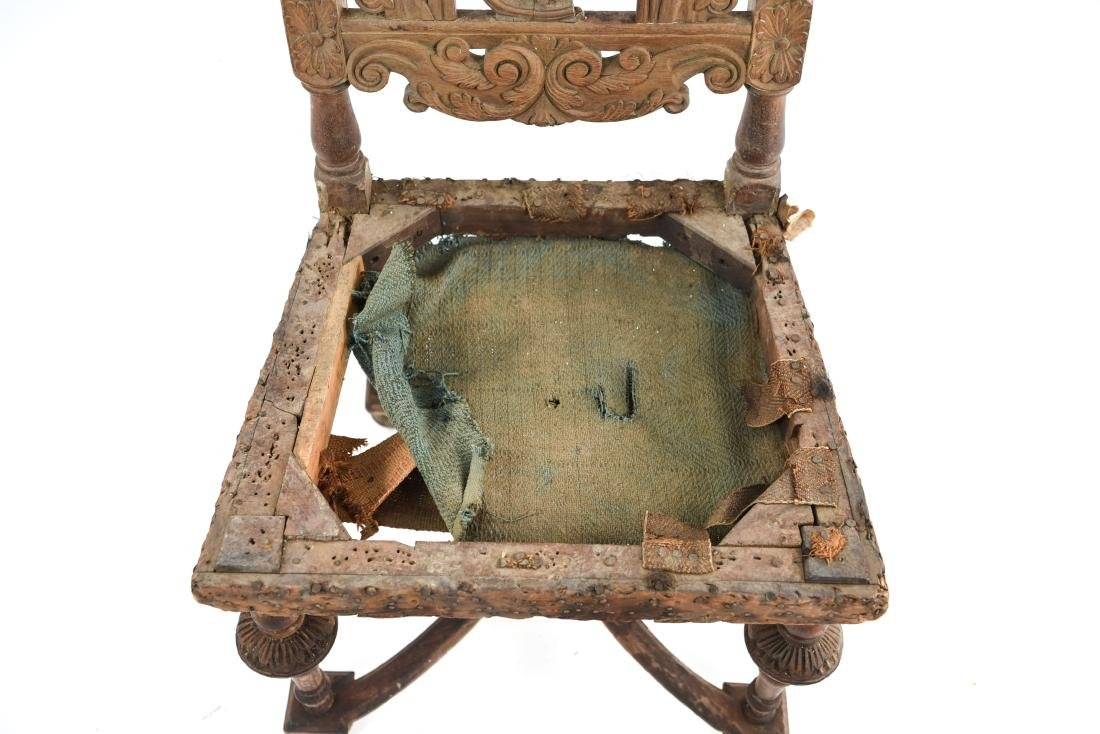ANTIQUE CARVED SIDE CHAIR - 3