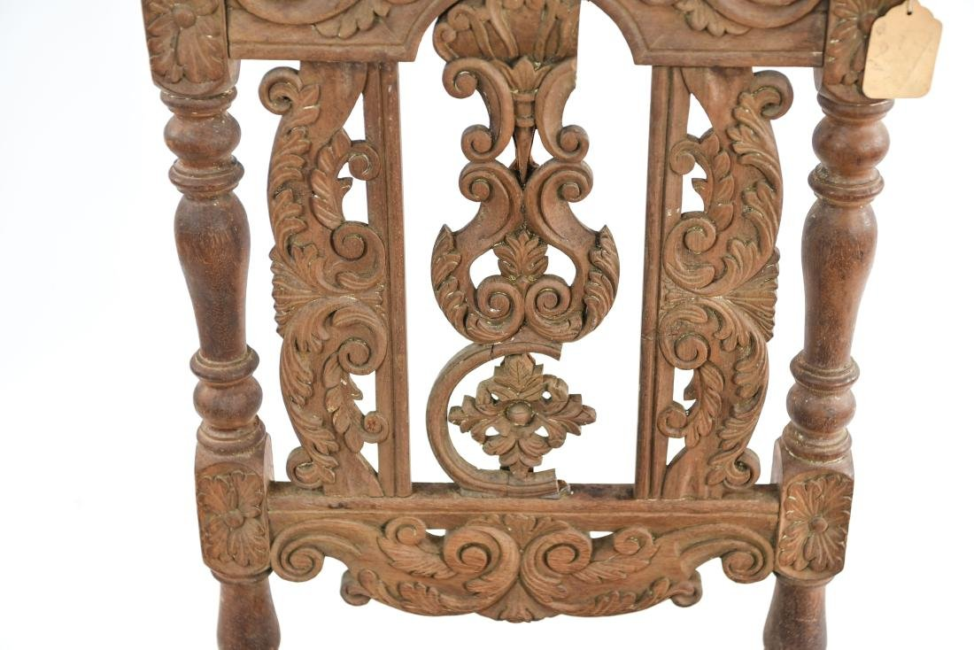 ANTIQUE CARVED SIDE CHAIR - 5