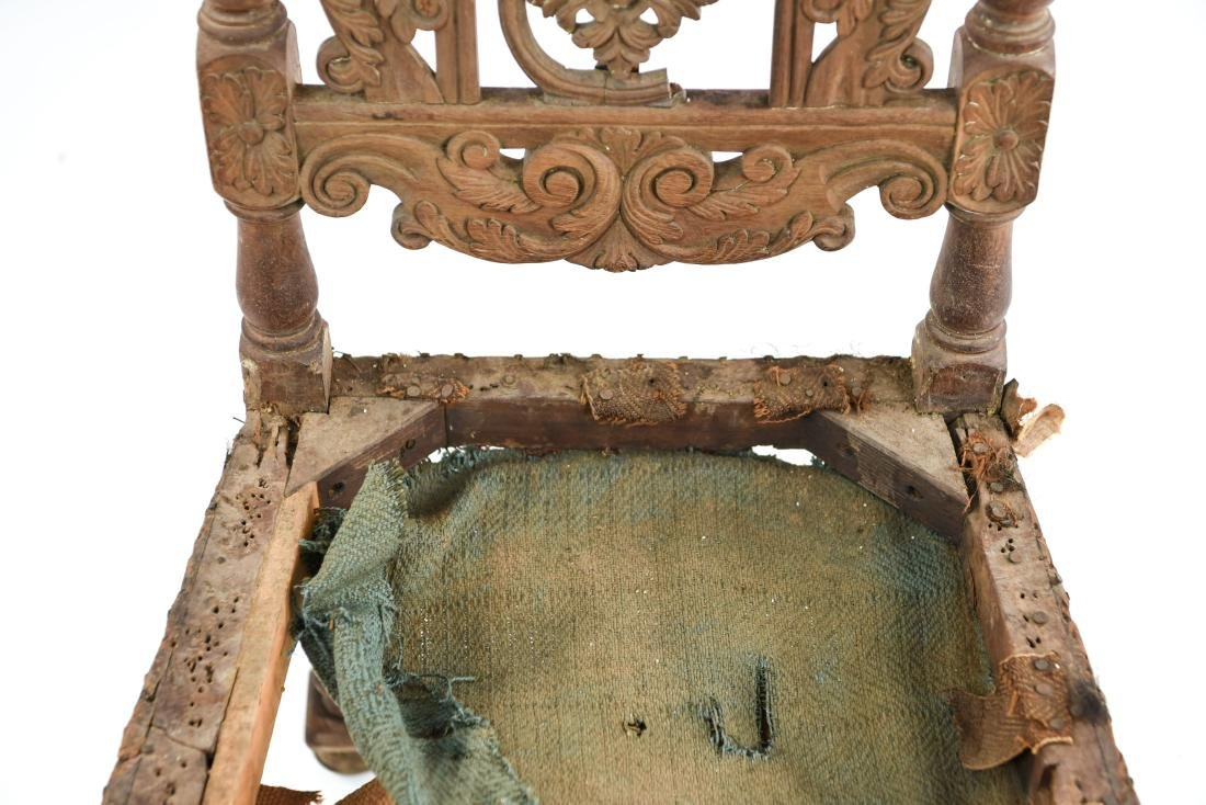 ANTIQUE CARVED SIDE CHAIR - 6
