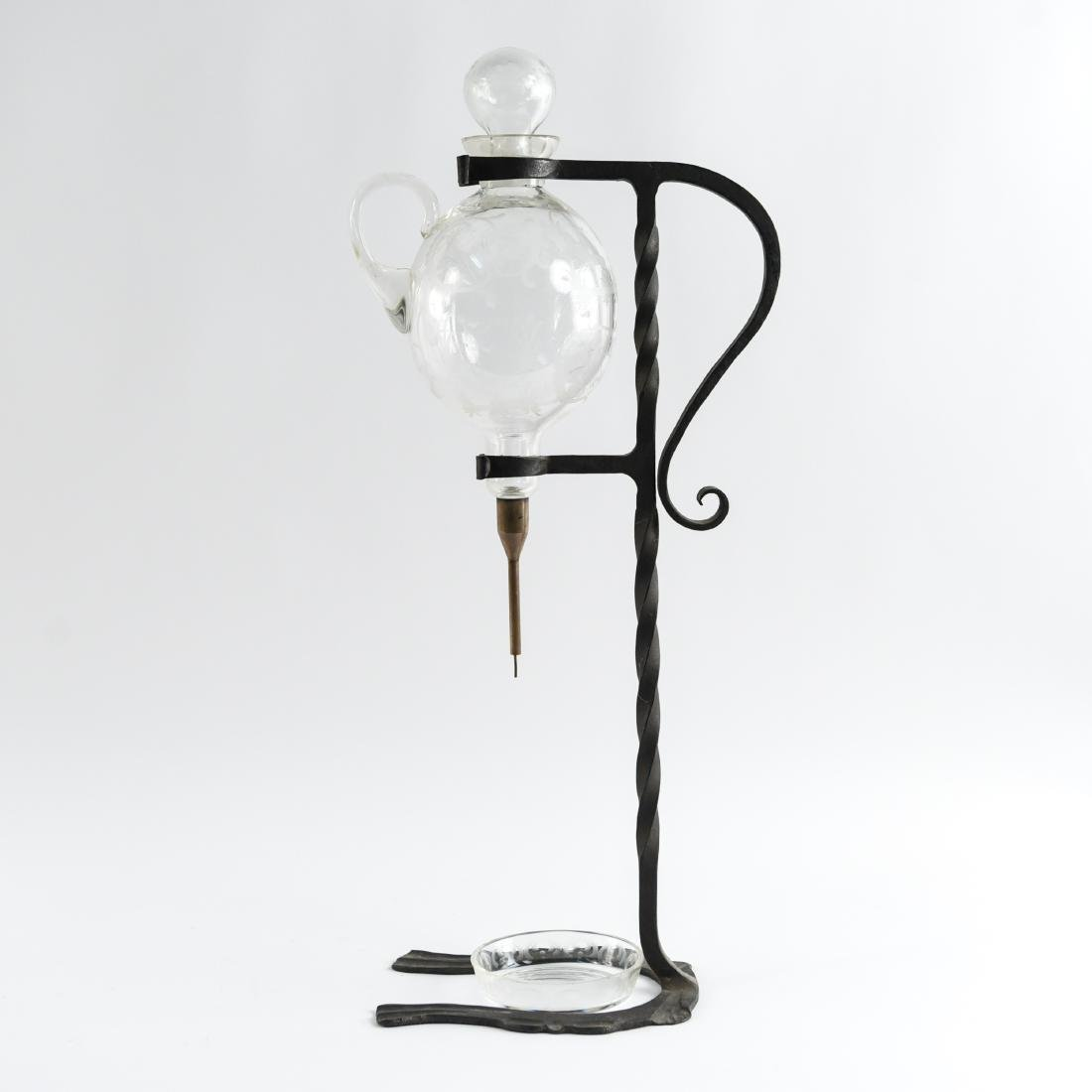 WROUGHT IRON ETCHED GLASS WINE SERVER