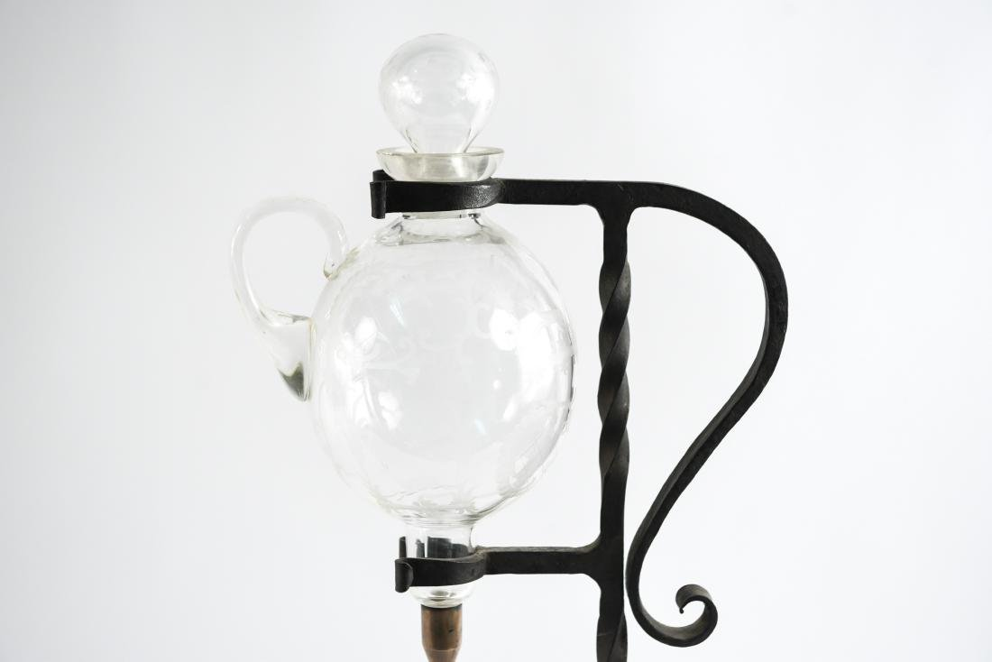 WROUGHT IRON ETCHED GLASS WINE SERVER - 2