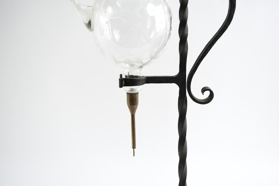 WROUGHT IRON ETCHED GLASS WINE SERVER - 3