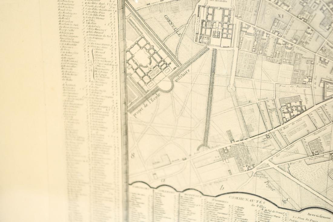 VINTAGE REPRODUCTION 18TH C. MAP OF PARIS - 10