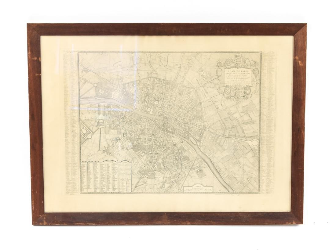 VINTAGE REPRODUCTION 18TH C. MAP OF PARIS