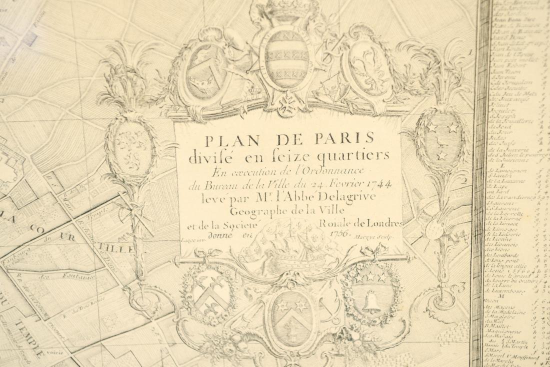 VINTAGE REPRODUCTION 18TH C. MAP OF PARIS - 2