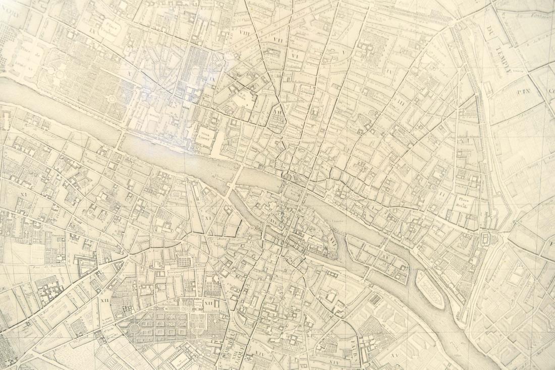 VINTAGE REPRODUCTION 18TH C. MAP OF PARIS - 5